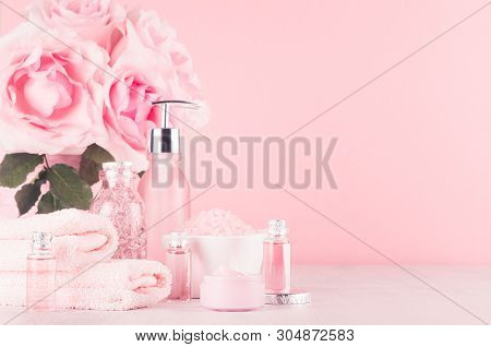 Modern Gentle Girlish Bathroom Decor - Cosmetics For Bath And Spa, Bouquet Of Roses, Bath Accessorie
