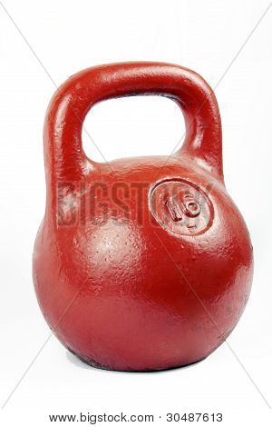 red iron kettlebell for weight training isolated on white poster