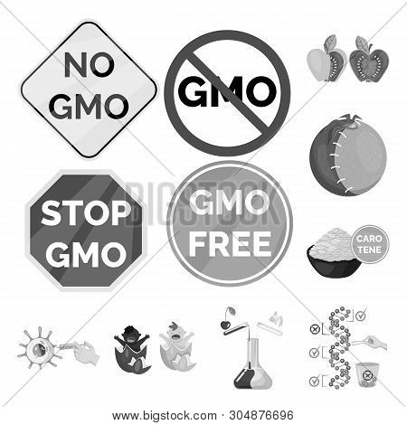 Vector Design Of Transgenic And Organic Sign. Set Of Transgenic And Synthetic Stock Symbol For Web.