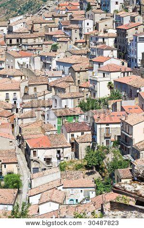 Panoramic view of Pietrapertosa. Basilicata. Southern Italy. poster