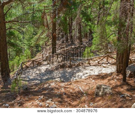 Trail For Hikers In The Samaria Gorge In Crete, Greece. Samaria National Park. The Tourist Route.