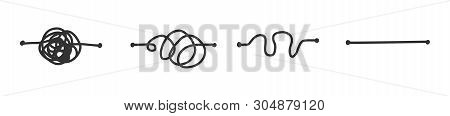 Simplify Concept Simplification Streamlining Process Straight And Curve Line Vector Illustration