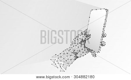 Phone In A Hand. Polygonal Technology Concept Of Device, Gadget, Typing, Smartphone Usage. Abstract,