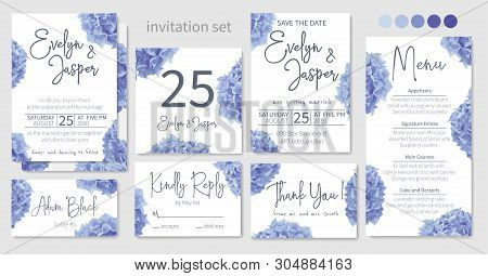 Set Of Wedding Invitations, Floral Invitations, Table, Menu, Thank You, Rsvp Card Design. Blue, Purp