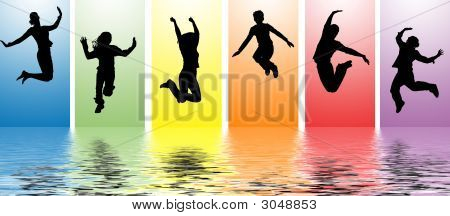 People Jumping Into Water Ripples