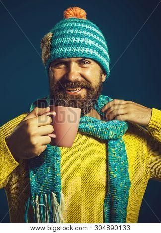 Enjoying Fresh Coffee. Happy Man In Casual Wear Drinks Hot Drink. Handsome Man Drinking Coffee. Coff