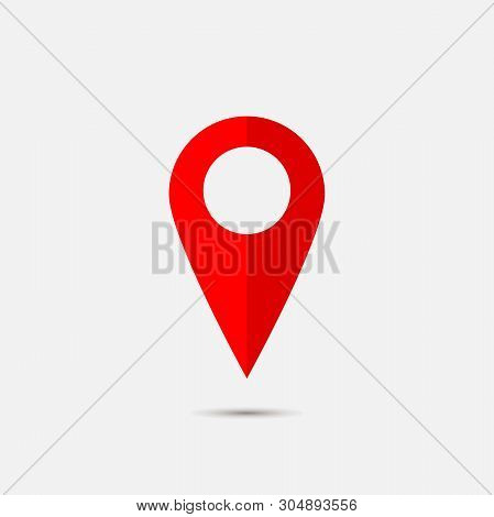 Vector Image  Positioning On The Map. Mark Icon. Red Icon Location Drop Pin On A Light Background