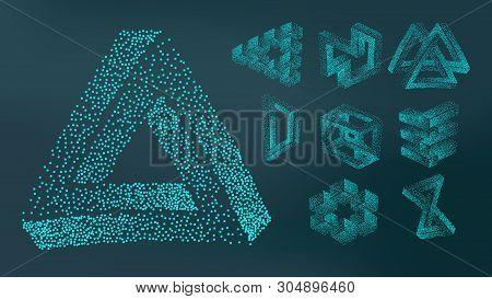 Abstract Stipple Spray Geometric Figure Set Vector. Collection Of Design Decorative Stipple On Dark