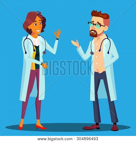 Character Cardiologist Doctor Man And Woman Vector. Male And Female Cardiologist Employees In Hospit