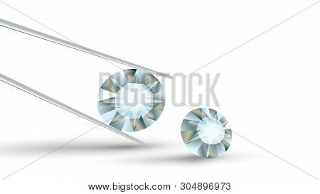 Bright Clear Brilliant Diamond In Tweezers Vector. Diamond Detail For Jewelry Ring Or Earrings, Broo