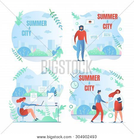 Set Working Weekdays, Written Summer And City. People Work In Summer In Big City. Men And Women Fini