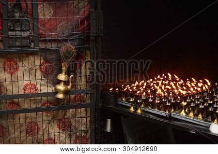 Traditional Indian Oil Lamp And Flaming Candles In Mahakal Temple On The Observatory Hill, Darjeelin
