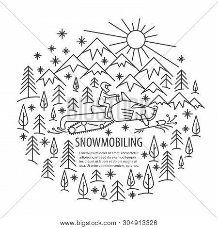 Snowmobiling Banner In Linear Style. Snowmobiling Tour Template With Pleace For Text. Vector Illustr