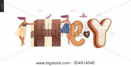 Dessert Lettering - Hey - Modern Flat Vector Concept Digital Illustration Of Temptation Font, Sweet