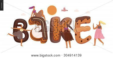 Dessert Lettering - Bake - Modern Flat Vector Concept Digital Illustration Of Temptation Font, Sweet