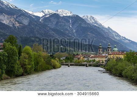 Innsbruck In Austrian Tyrol With Mountain Backdrop