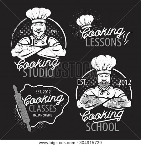 Cooking Vintage Logo. Cooking Class Template Logo With Chef. Modern Design Poster. Label, Badge, Pos