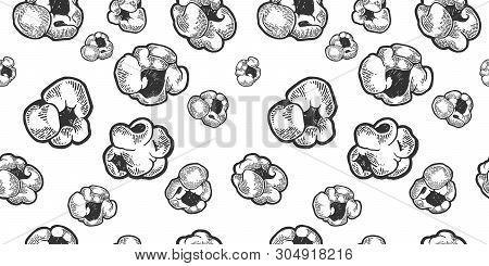 Popcorn Food Sketch Engraving Seamless Pattern On White Background Vector Illustration. Scratch Boar
