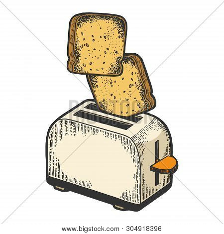 Toaster With Flying Out Bread Toast Crouton Color Sketch Engraving Vector Illustration. Scratch Boar