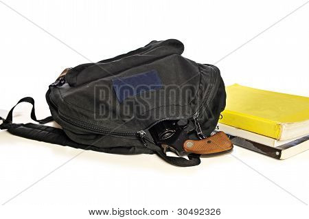 School Bookbag And Pistol