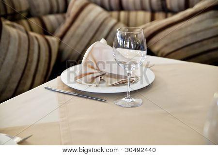 Wine Glasses Set At Restaurant Table