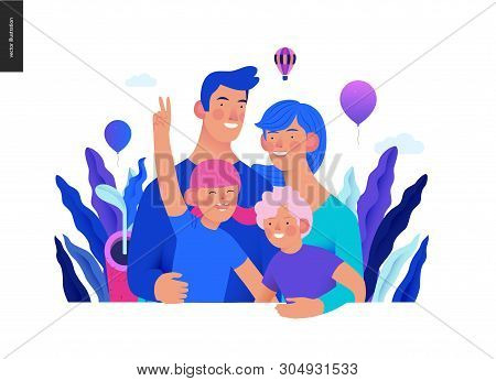 Medical Insurance Template - A Happy Family - Modern Flat Vector Concept Digital Illustration Of A Y