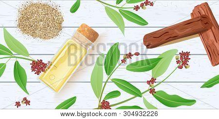 Sandalwood Essential Oil In Glass Scent Bottle With Cork On White Wooden Shabby Desk. Chandan Leaves