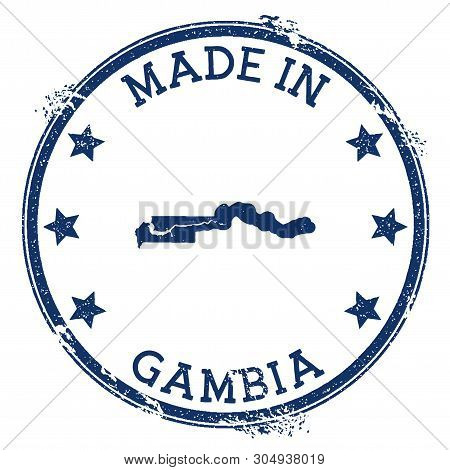 Made In Gambia Stamp. Grunge Rubber Stamp With Made In Text And Country Map. Wondrous Vector Illustr