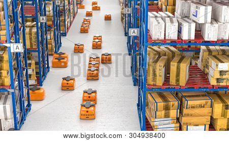 3d render image of drones moving inside a modern warehouse full of goods stored on shelves.