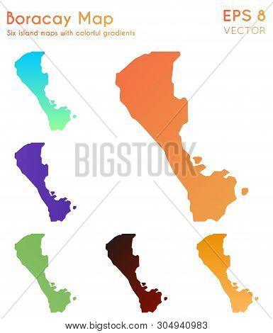 Map Of Boracay With Beautiful Gradients. Amusing Set Of Island Maps. Wondrous Vector Illustration.