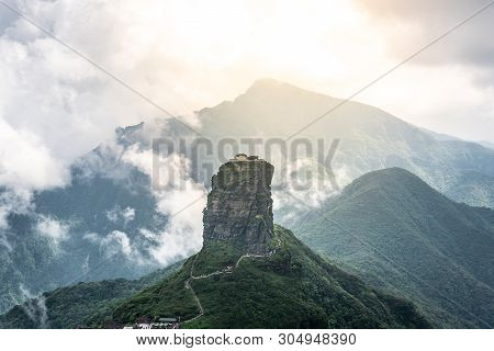 Sunset Scenery In Fanjingshan Mountain With View Of The Fanjing Mount And The Red Cloud Golden Peak
