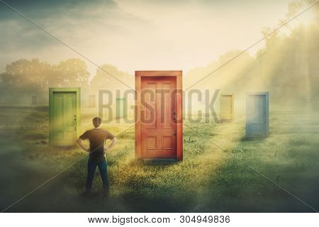 Doubtful Man In Front Of Many Different Doors Choosing One. Difficult Decision, Concept Of Important