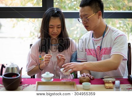 Wuhan, Hubei/ China- Apr 07-2019: Chinese Tea Ceremony Set The Show For Exchange Student. Unspecific