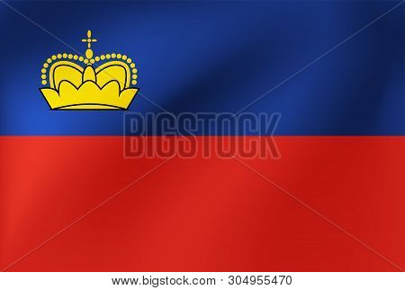 Vector National Flag Of Lichtenstein. Illustration For Sports Competition, Traditional Or State Even
