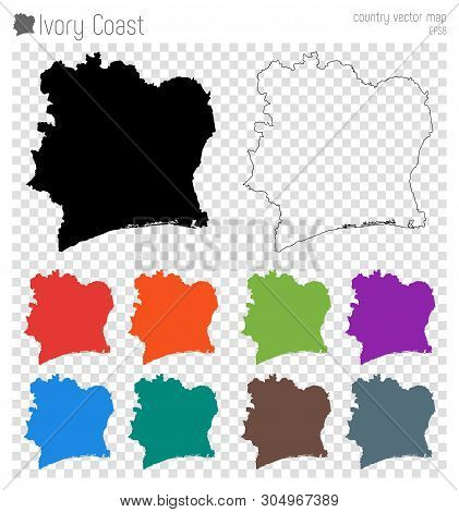 Ivory Coast High Detailed Map. Isolated Black Country Outline. Vector Illustration.