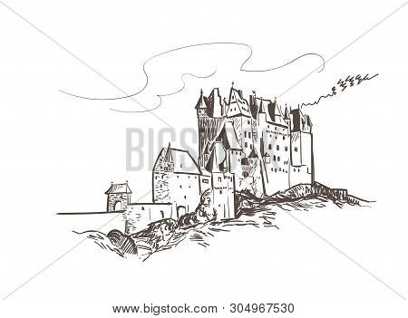 Line Art Isolated Eltz Castle Vector Sketch