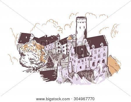 Line Art Isolated Lichtenstein Castle Vector Sketch