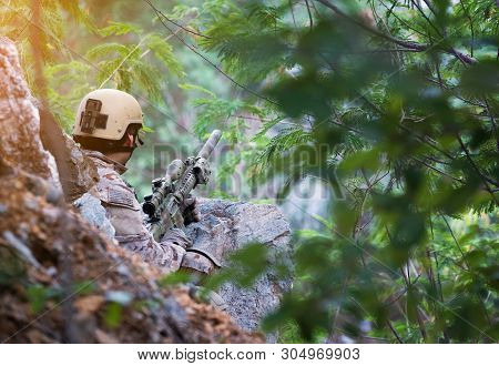 Fully Equipped Soldiers Wearing Camouflage Uniform Attacking Enemy, Airsoft Military Game Player In