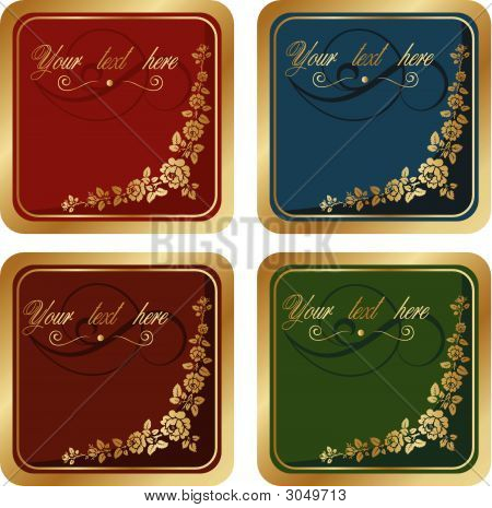Vector Floral Gold Label For Text