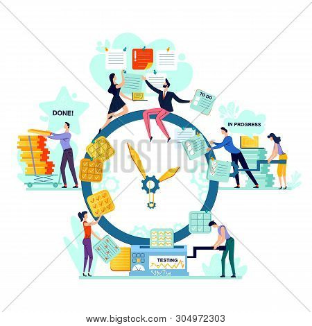 Deadline And Time Management Business Concept Vector. Large Watches And Workers With Task Cards, Pro
