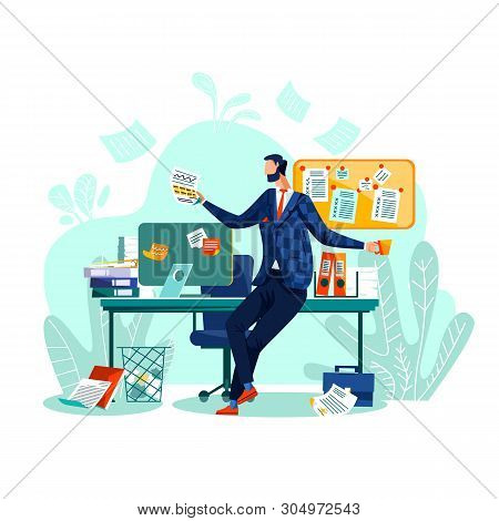 Deadline And Time Management Business Concept Vector. Happy Worker Sits At Desk, Drinks Coffee Or Te