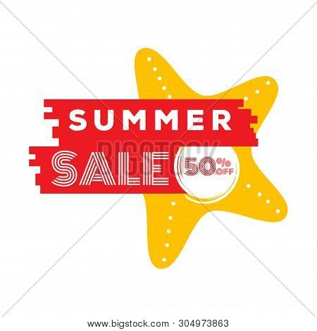 Seastar With Text. Summer Sale Label - Vector