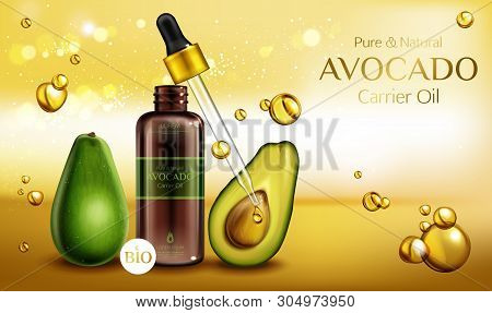 Avocado Cosmetics Oil. Organic Beauty Product Bottle With Pipette Mockup On Blurred Background With