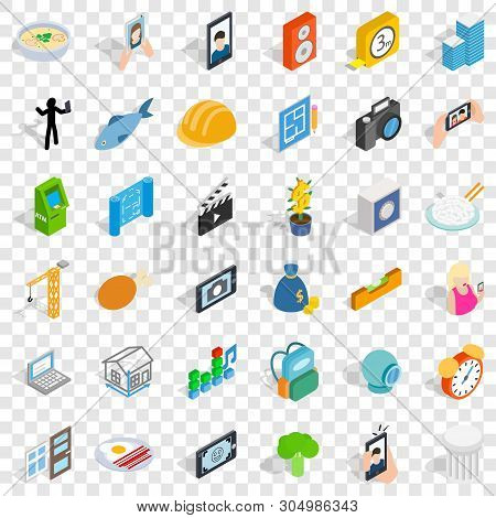 Specific Icons Set. Isometric Style Of 36 Specific Vector Icons For Web For Any Design