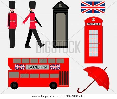 Vector Illustration London With British Symbols. London England Travel Collection. Welcome To The Uk