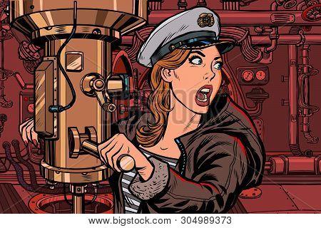 Submarine A Woman Captain, Battle Alert. Pop Art Retro Vector Illustration Vintage Kitsch