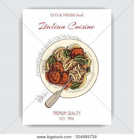 Vector Illustration Sketch - Italian Food. Pack Of Pasta. Bucatini