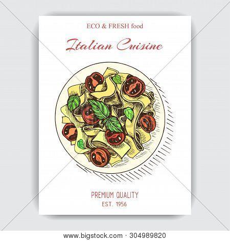 Vector Illustration Sketch - Italian Food. Pack Of Pasta. Fusilli.