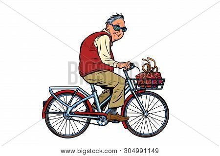 An Old Man With A Gift, Riding A Bicycle. Pop Art Retro Vector Illustration Vintage Kitsch