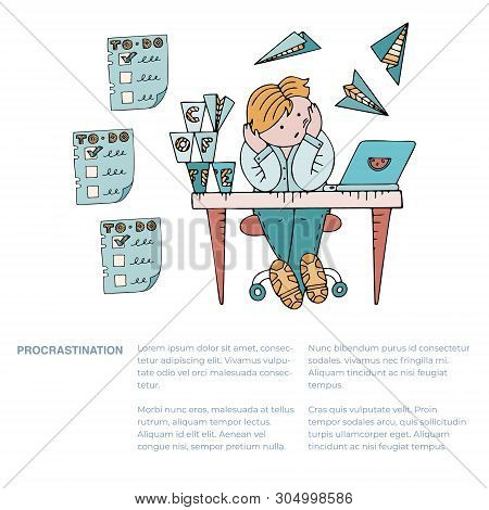 Person Sitting In A State Of Procrastination At A Working Table, With Text. Boring Working Space Wit